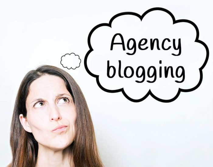 Thought bubble that says agency blogging